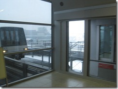 The air train at Frankfurt airport on a snowy Sunday morning.