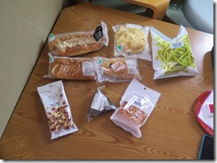 A sample Japanese convenience store breakfast and snacks for two for under $10.