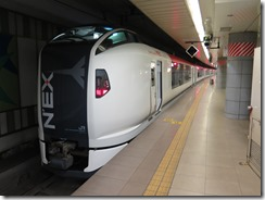A streamlined Narita Express Train for transport from the airport to Tokyo.