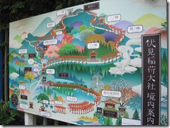 Mt. Inari ascent trail map, depicting higher profile shrines and giving a partial sense of the hike.