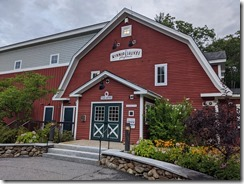 The Winnipesaukee Playhouse. The front entrance resembles the side of a barn.
