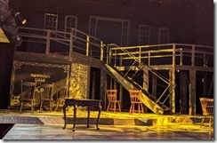 The stage for Hooligans and Convicts at the Winnipesaukee Playhouse